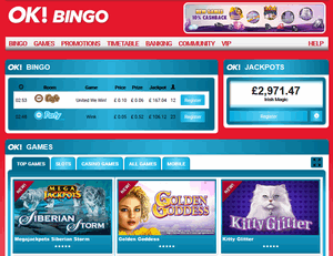 ok bingo homepage screenshot