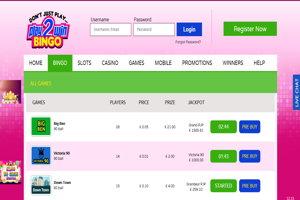 play2win bingo website screenshot