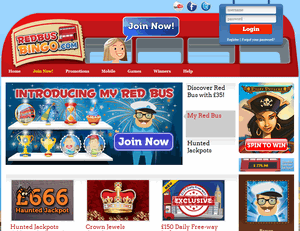 Red Bus Bingo website homepage
