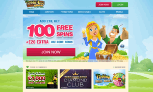 Robin Hood Bingo website homepage