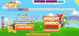 Bright Bingo promotional page screenshot