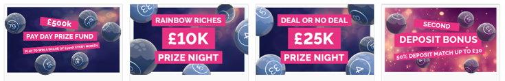 Fabulous Bingo bonus page screenshots