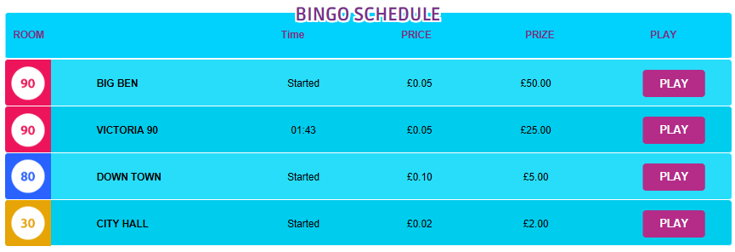 Little Miss Bingo schedule screenshot