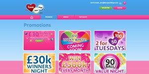 Love Your Bingo promotional page screenshot