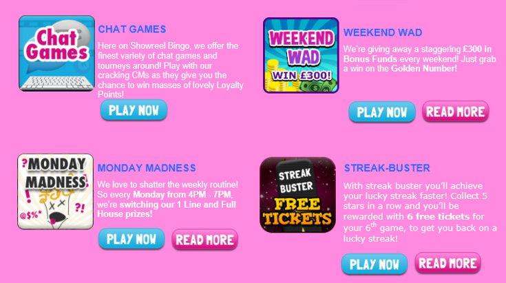 Showreel Bingo bonus screenshot