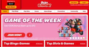 Sun Bingo promotional page screenshot