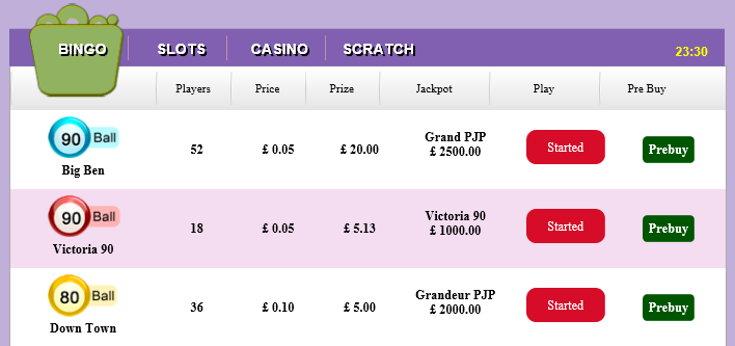 Vampire Bingo schedule screenshot