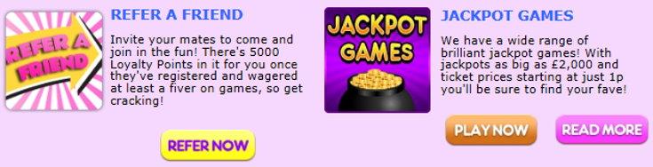 Zingo Bingo bonus page screenshot