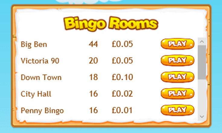 Buttercup Bingo schedule screenshot