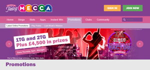 Mecca Bingo promotional page screenshot