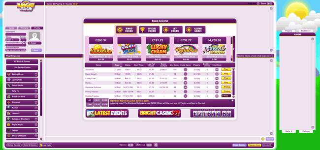 Bright Bingo gaming lobby