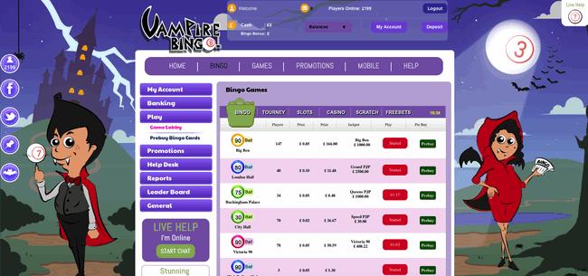 Vampire Bingo lobby