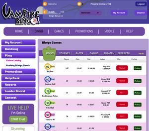 Vampire Bingo example of a cozy games site