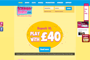 Scrummy Bingo website homepage