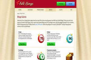 silk bingo website screenshot