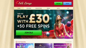 Silk Bingo website homepage