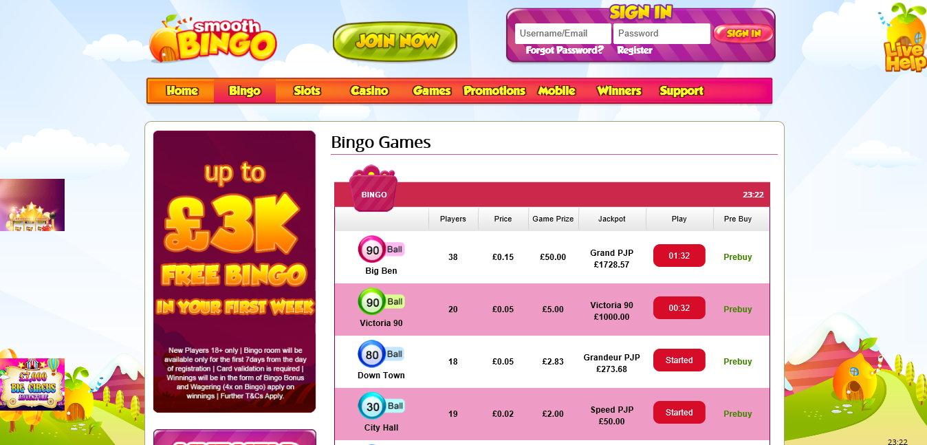 smooth bingo website screenshot