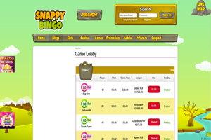 snappy bingo website screenshot