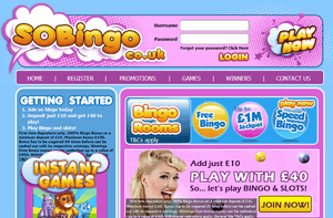 SoBingo website homepage