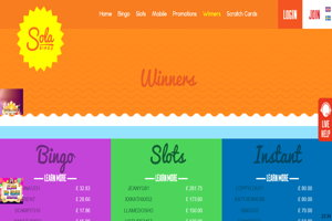 sola bingo website screenshot