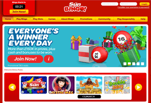 Sun Bingo website homepage