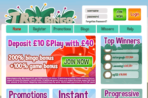 T Rex Bingo website homepage