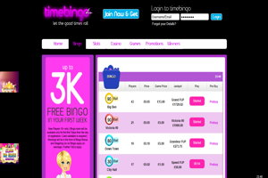 time bingo website screenshot