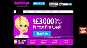 Time Bingo website homepage