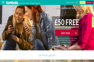 Tombola website homepage