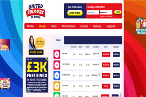 united colours of bingo website screenshot