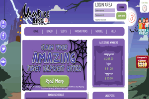 Vampire Bingo website homepage