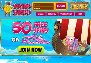 Viking Bingo website homepage