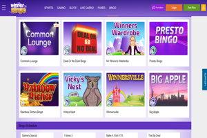 winner bingo website screenshot