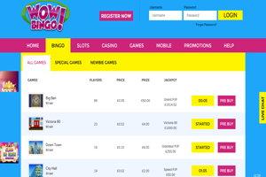 wow bingo homepage screenshot