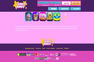 zingo bingo homepage screenshot