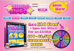 Zingo Bingo website homepage screenshot