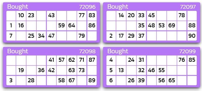 90 Ball Bingo Tickets