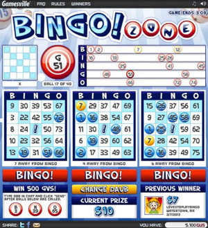 Bingozone.com bingo card screenshot