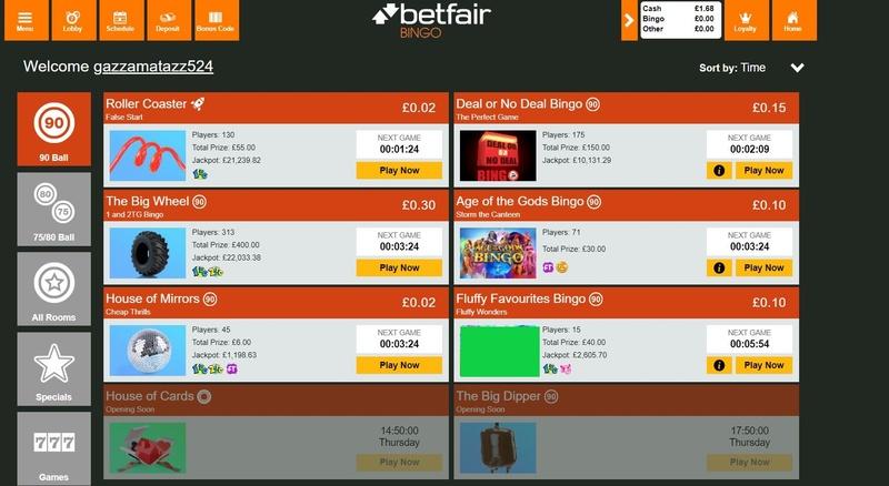 Betfair Bingo Lobby
