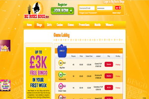 big bucks bingo website screenshot