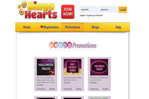 bingo hearts website screenshot