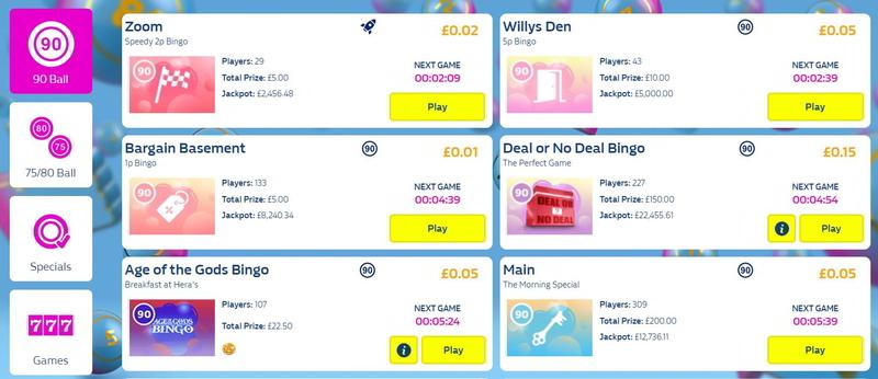 Online Bingo Lobby Schedule