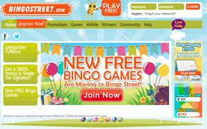 Bingo Street website homepage
