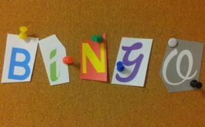 Bingo Word Pinned on Cork Board
