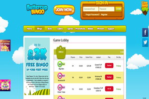 buttercup bingo website screenshot