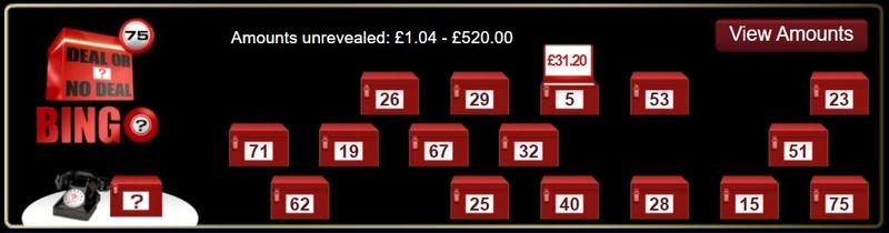 Deal or No Deal Bingo Boxes