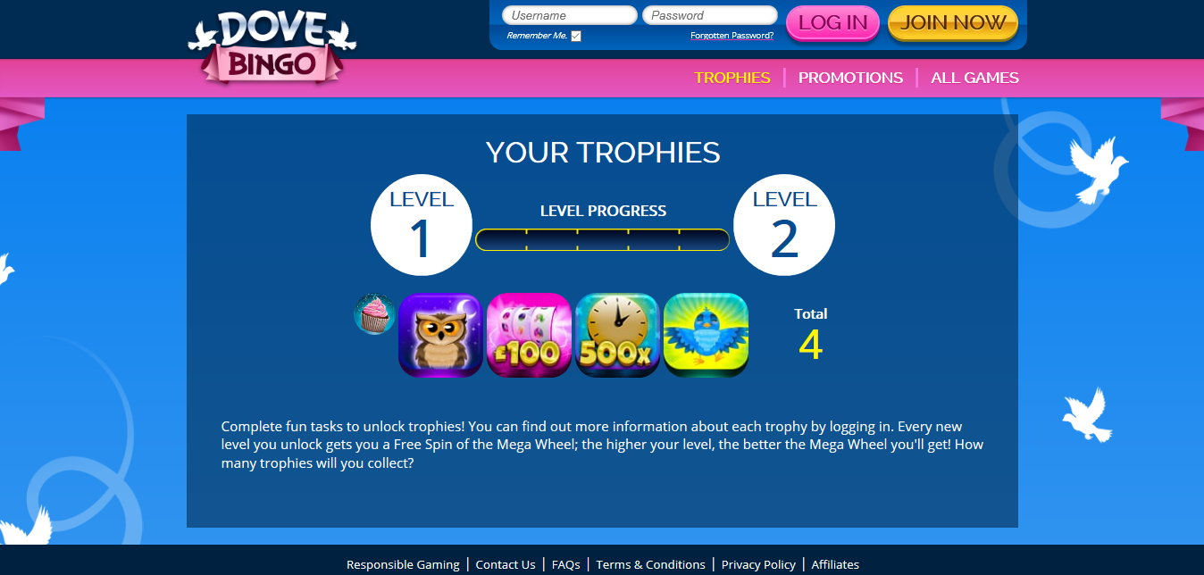 dove bingo website screenshot