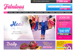 Fabulous Bingo website homepage screenshot