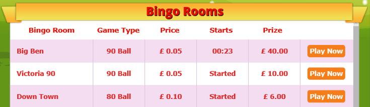 Fun Bingo schedule screenshot