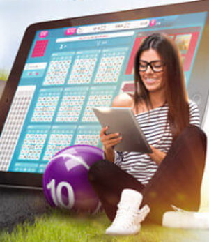 girl playing mobile bingo app screenshot